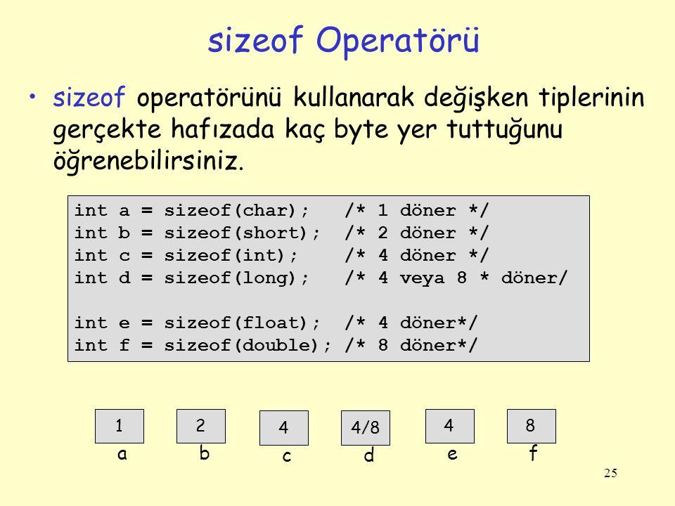 sizeof Operatörü sizeof operatörünü kullanarak değişken tiplerinin gerçekte hafızada kaç byte yer tuttuğunu öğrenebilirsiniz.