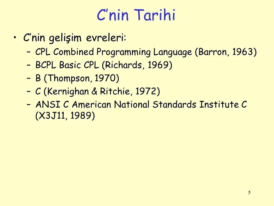 C'nin Tarihi C'nin gelişim evreleri:
