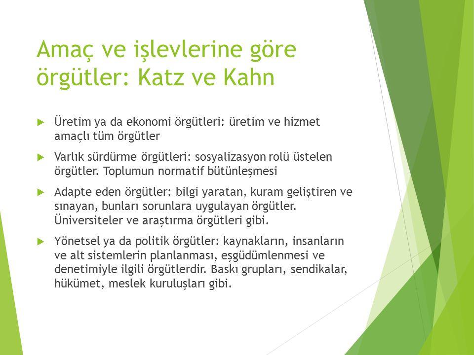 Amaç ve işlevlerine göre örgütler: Katz ve Kahn