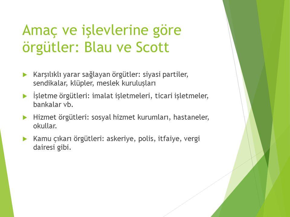Amaç ve işlevlerine göre örgütler: Blau ve Scott