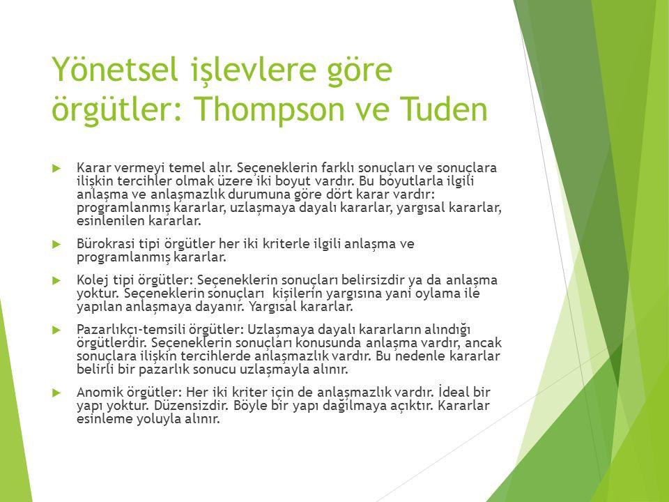 Yönetsel işlevlere göre örgütler: Thompson ve Tuden