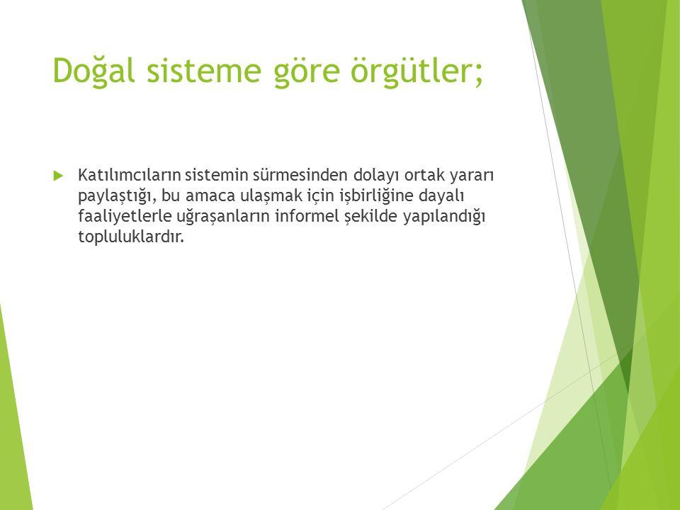Doğal sisteme göre örgütler;
