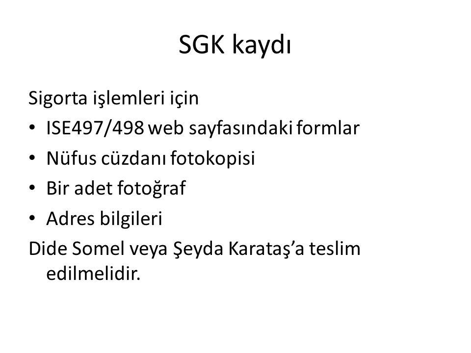 SGK kaydı Sigorta işlemleri için ISE497/498 web sayfasındaki formlar