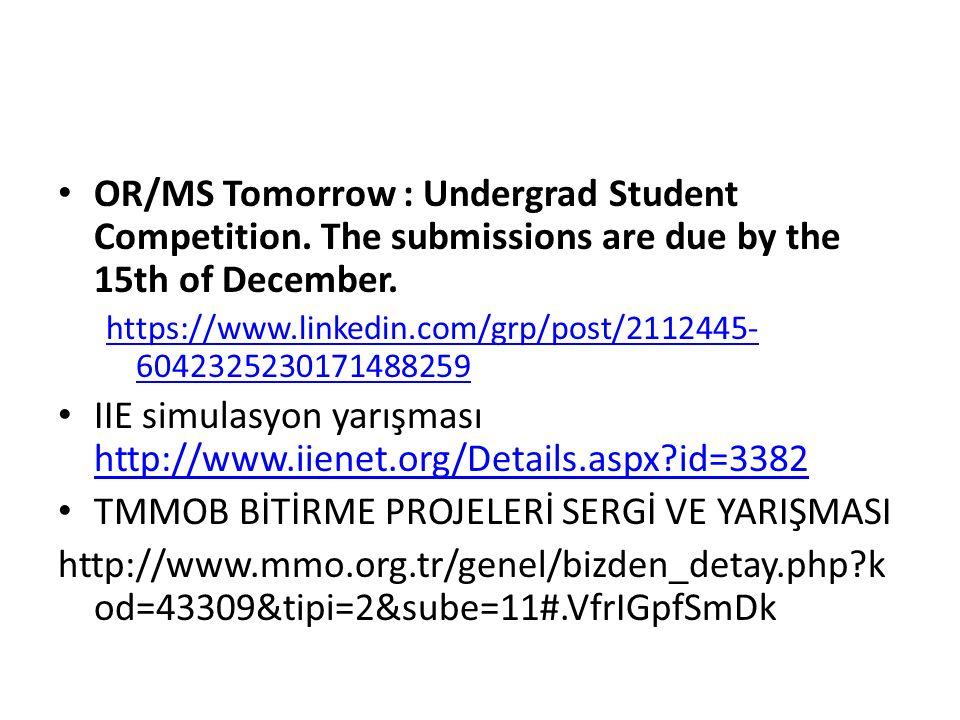 IIE simulasyon yarışması http://www.iienet.org/Details.aspx id=3382