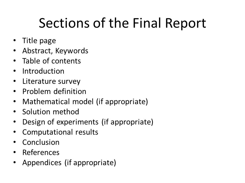 Sections of the Final Report