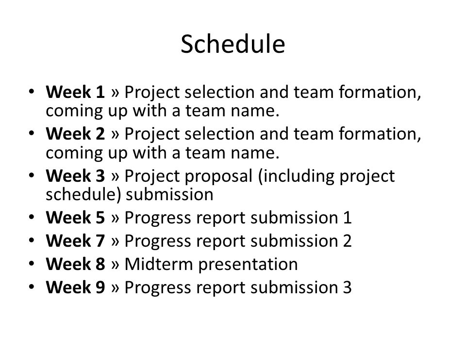 Schedule Week 1 » Project selection and team formation, coming up with a team name.
