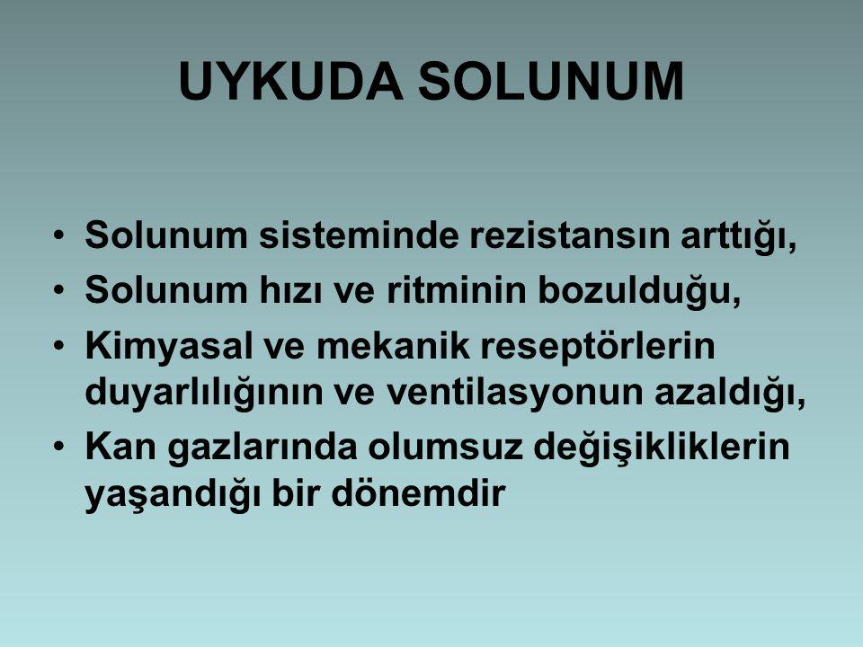 UYKUDA SOLUNUM Solunum sisteminde rezistansın arttığı,