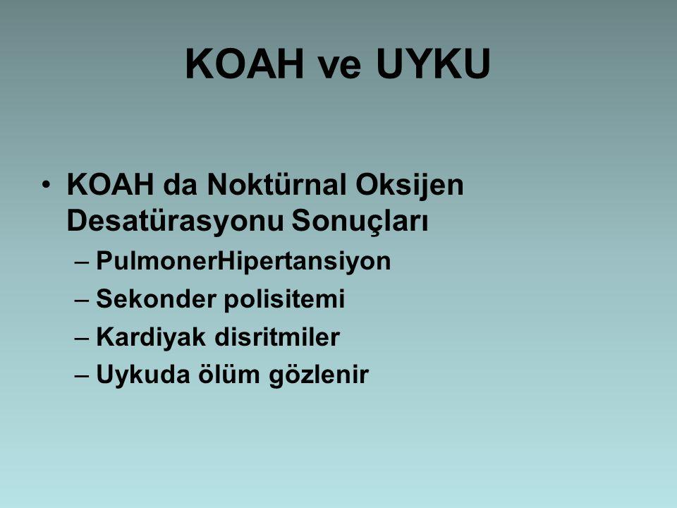 KOAH ve UYKU KOAH da Noktürnal Oksijen Desatürasyonu Sonuçları