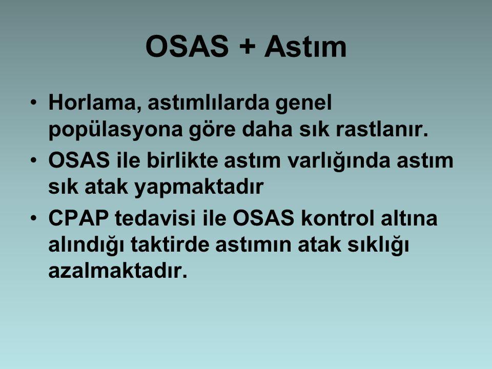 OSAS + Astım Horlama, astımlılarda genel popülasyona göre daha sık rastlanır. OSAS ile birlikte astım varlığında astım sık atak yapmaktadır.