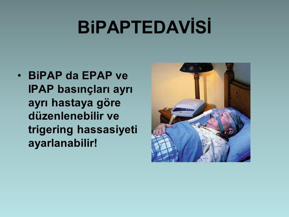 BiPAPTEDAVİSİ BiPAP da EPAP ve IPAP basınçları ayrı ayrı hastaya göre düzenlenebilir ve trigering hassasiyeti ayarlanabilir!