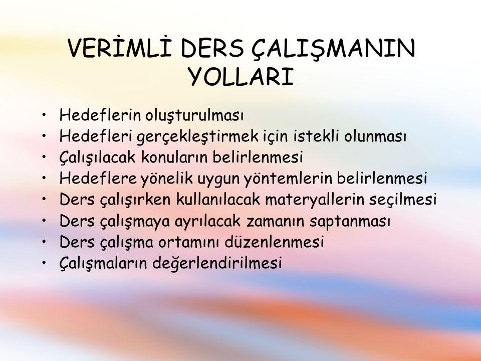 VERİMLİ DERS ÇALIŞMANIN YOLLARI