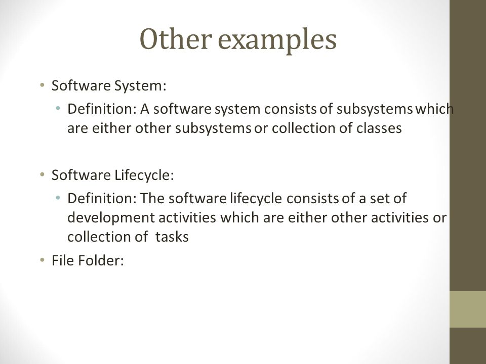 Other examples Software System: