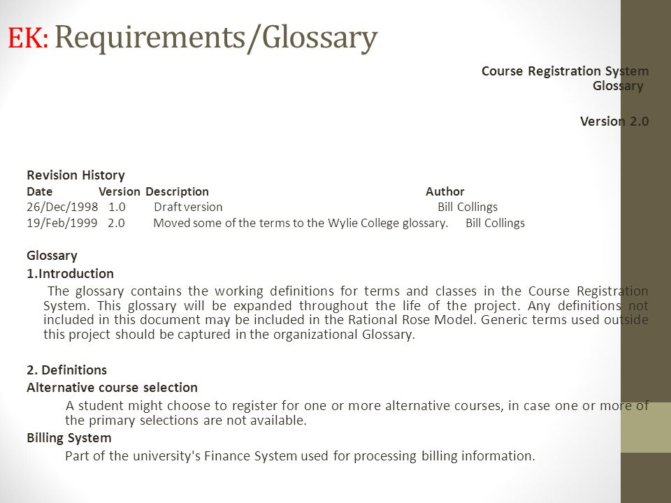 EK: Requirements/Glossary