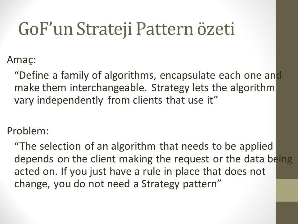 GoF'un Strateji Pattern özeti