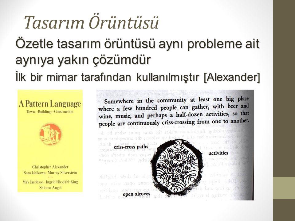 Tasarım Örüntüsü Özetle tasarım örüntüsü aynı probleme ait aynıya yakın çözümdür.