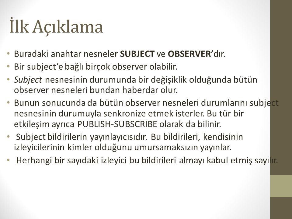 İlk Açıklama Buradaki anahtar nesneler SUBJECT ve OBSERVER'dır.