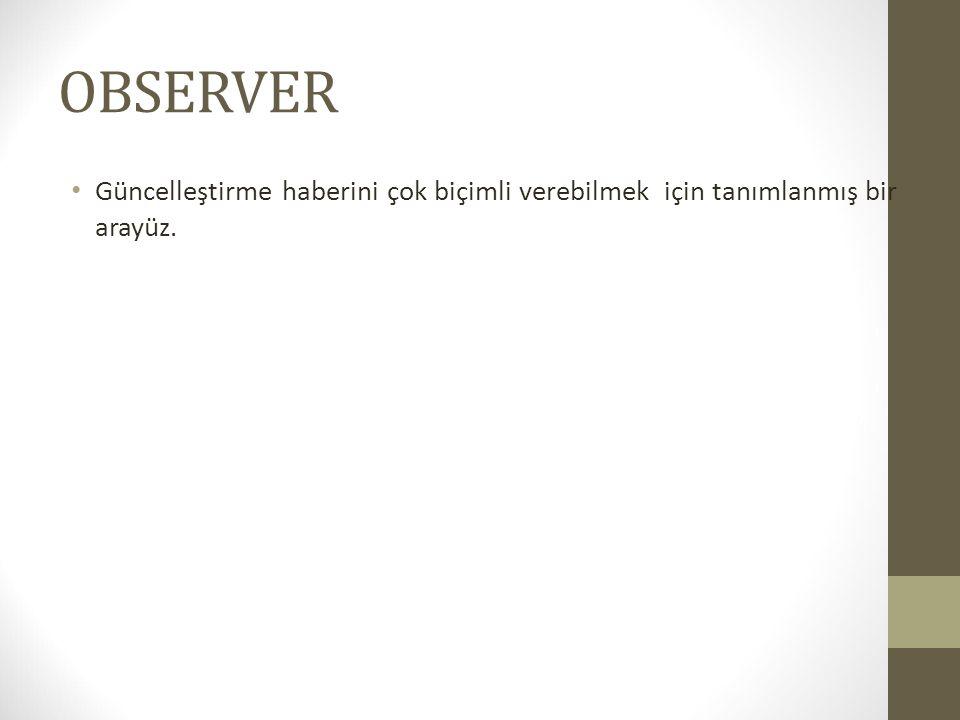OBSERVER Güncelleştirme haberini çok biçimli verebilmek için tanımlanmış bir arayüz.