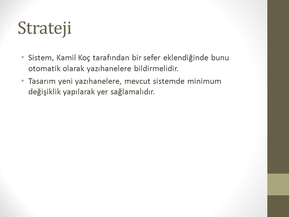 Strateji Sistem, Kamil Koç tarafından bir sefer eklendiğinde bunu otomatik olarak yazıhanelere bildirmelidir.