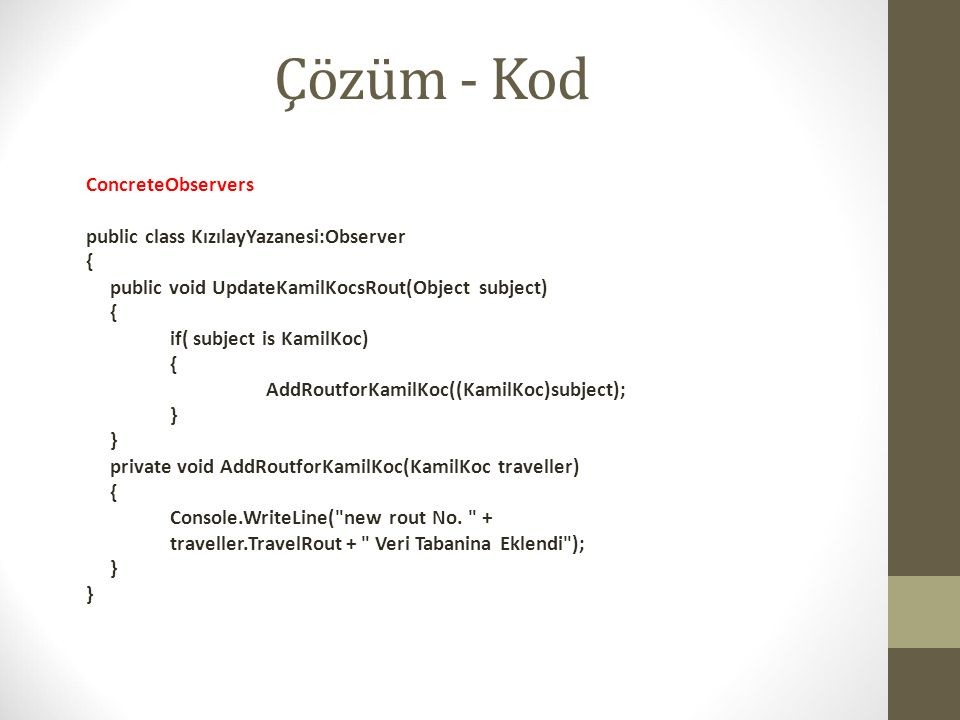 Çözüm - Kod