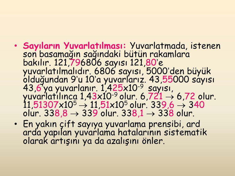 Sayıların Yuvarlatılması: Yuvarlatmada, istenen son basamağın sağındaki bütün rakamlara bakılır. 121,796806 sayısı 121,80'e yuvarlatılmalıdır. 6806 sayısı, 5000'den büyük olduğundan 9'u 10'a yuvarlarız. 43,55000 sayısı 43,6'ya yuvarlanır. 1,425x10-9 sayısı, yuvarlatılınca 1,43x10-9 olur. 6,721  6,72 olur. 11,51307x105  11,51x105 olur. 339,6  340 olur. 338,8  339 olur. 338,1  338 olur.
