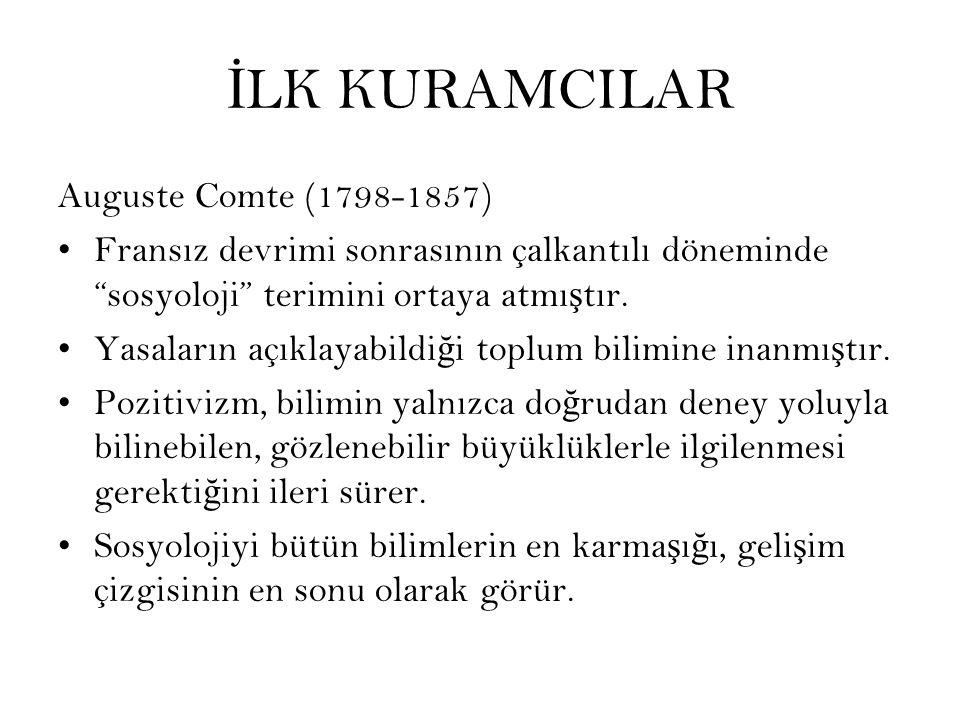 İLK KURAMCILAR Auguste Comte (1798-1857)
