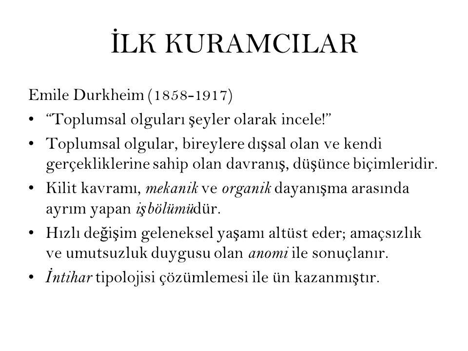 İLK KURAMCILAR Emile Durkheim (1858-1917)