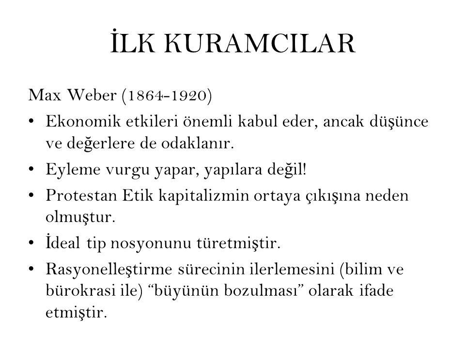 İLK KURAMCILAR Max Weber (1864-1920)