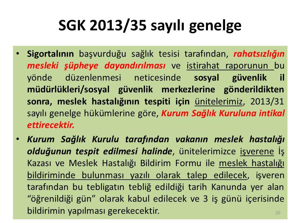 SGK 2013/35 sayılı genelge