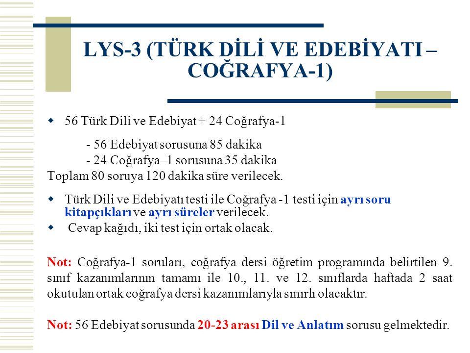 LYS-3 (TÜRK DİLİ VE EDEBİYATI – COĞRAFYA-1)