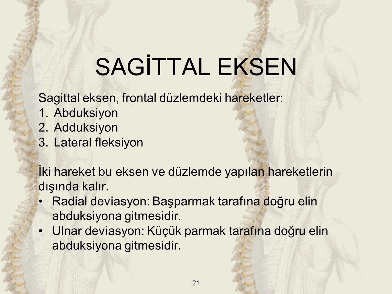 SAGİTTAL EKSEN Sagittal eksen, frontal düzlemdeki hareketler: