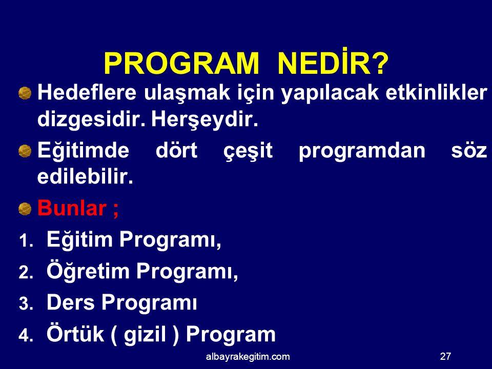 PROGRAM NEDİR Hedeflere ulaşmak için yapılacak etkinlikler dizgesidir. Herşeydir. Eğitimde dört çeşit programdan söz edilebilir.