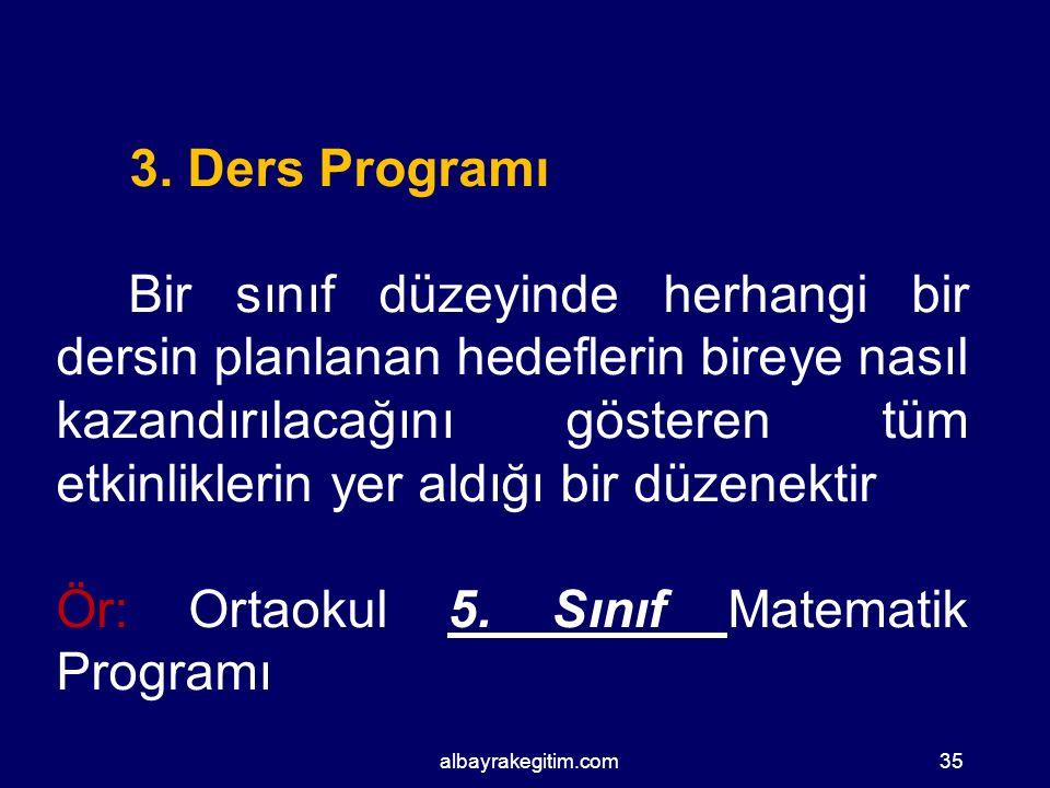 Ör: Ortaokul 5. Sınıf Matematik Programı