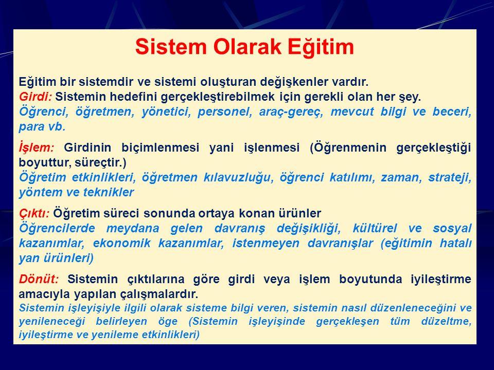 Sistem Olarak Eğitim Eğitim bir sistemdir ve sistemi oluşturan değişkenler vardır.
