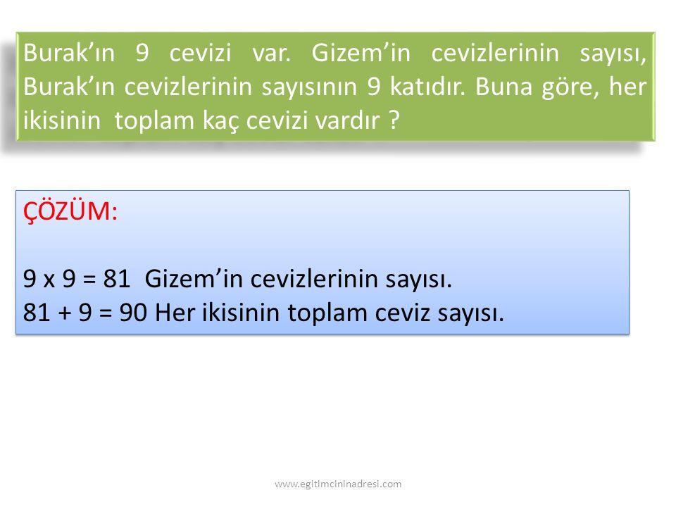 9 x 9 = 81 Gizem'in cevizlerinin sayısı.