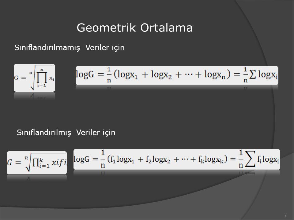 Geometrik Ortalama Sınıflandırılmamış Veriler için