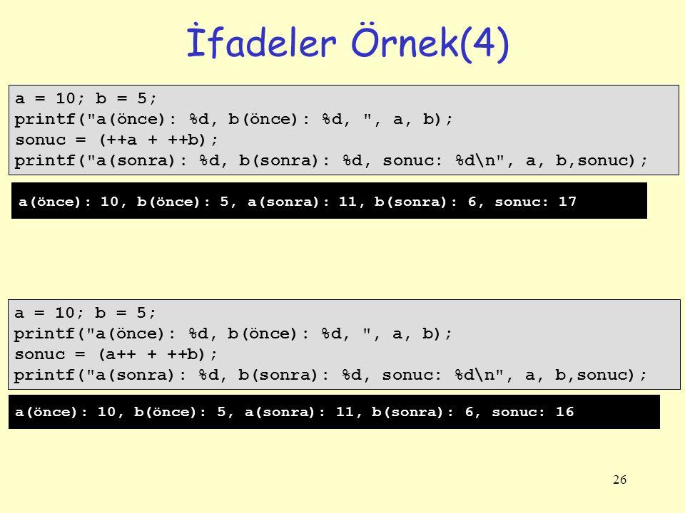 İfadeler Örnek(4) a = 10; b = 5;