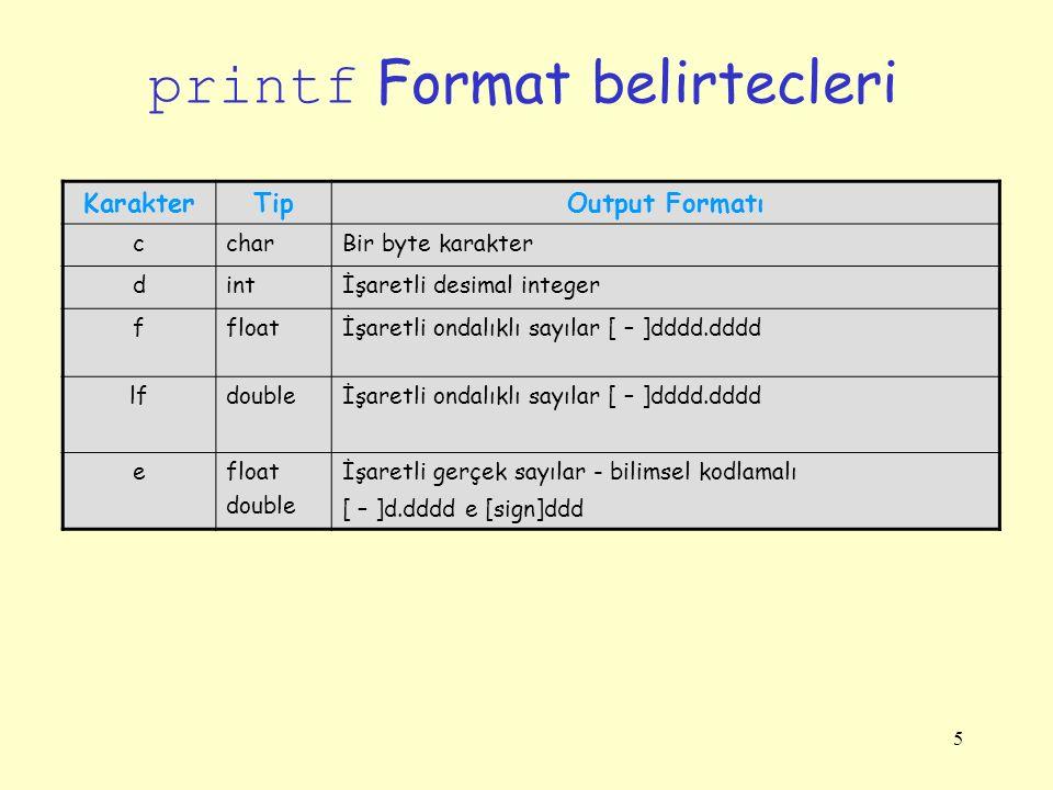printf Format belirtecleri