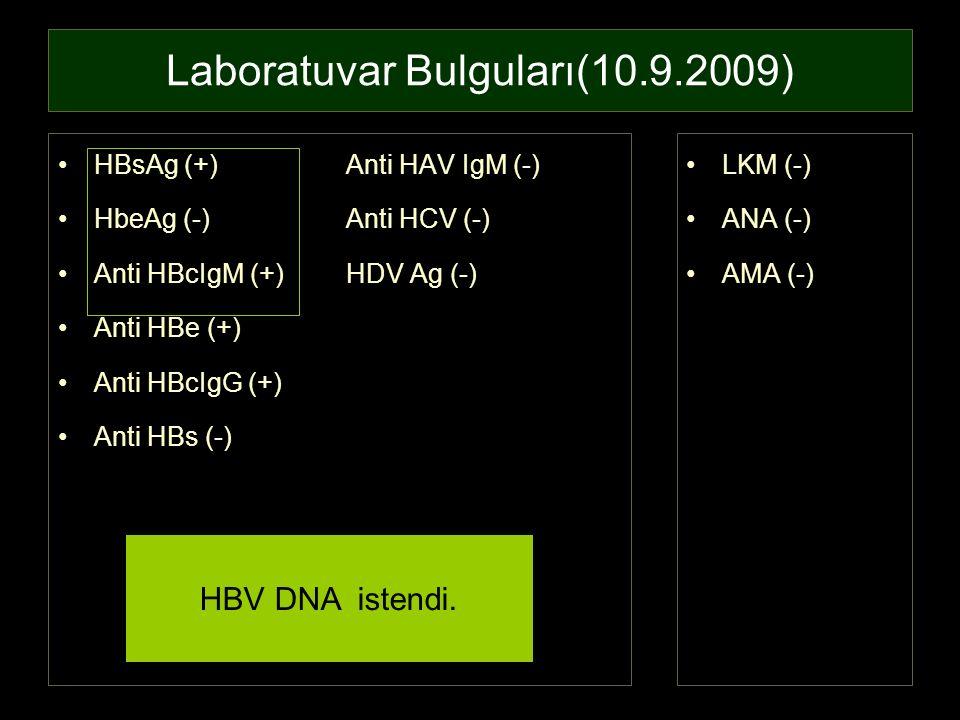 Laboratuvar Bulguları(10.9.2009)