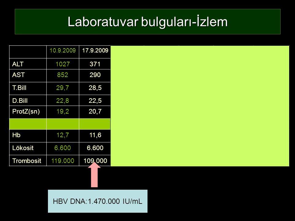 Laboratuvar bulguları-İzlem