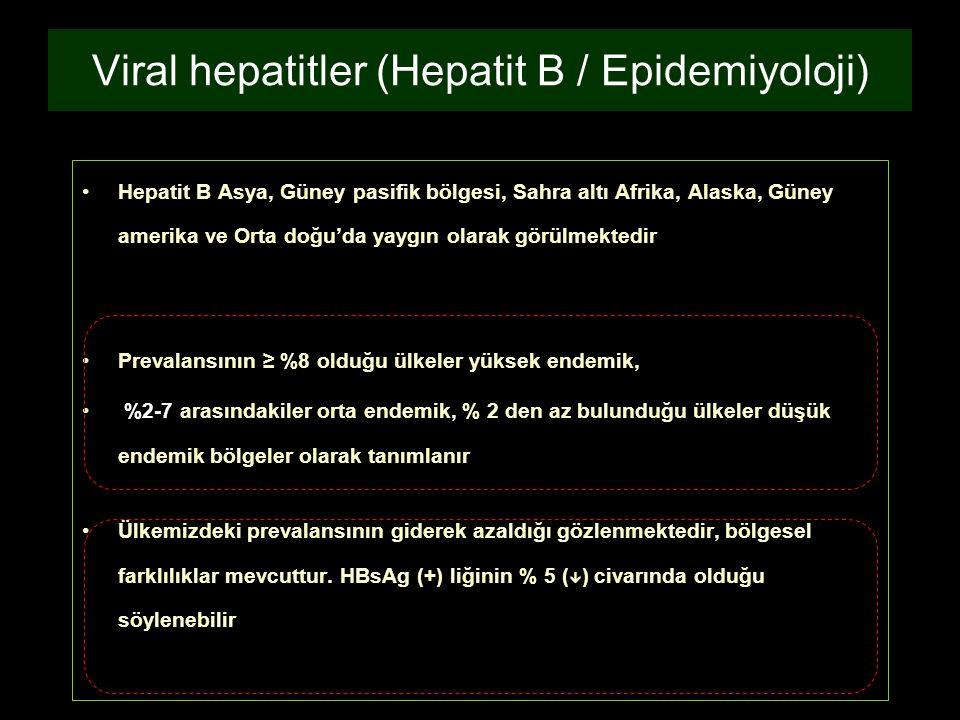 Viral hepatitler (Hepatit B / Epidemiyoloji)