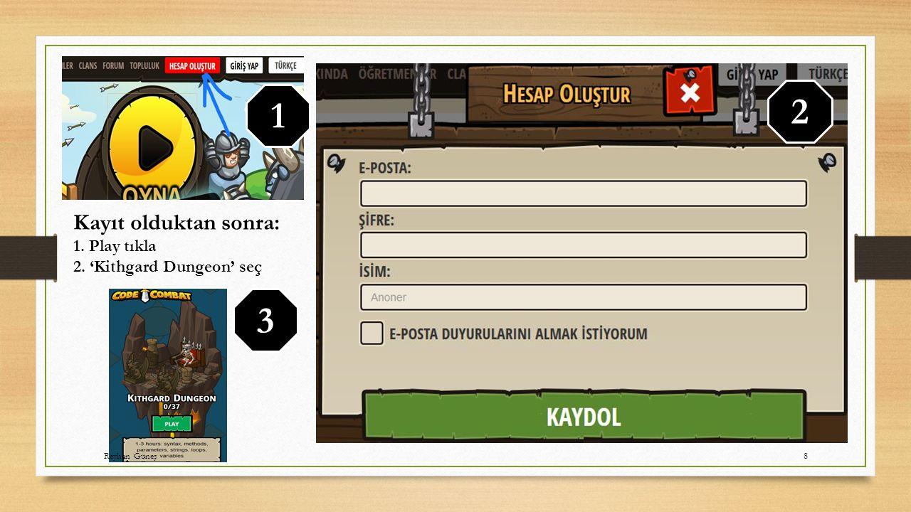 2 1 3 Kayıt olduktan sonra: 1. Play tıkla 2. 'Kithgard Dungeon' seç