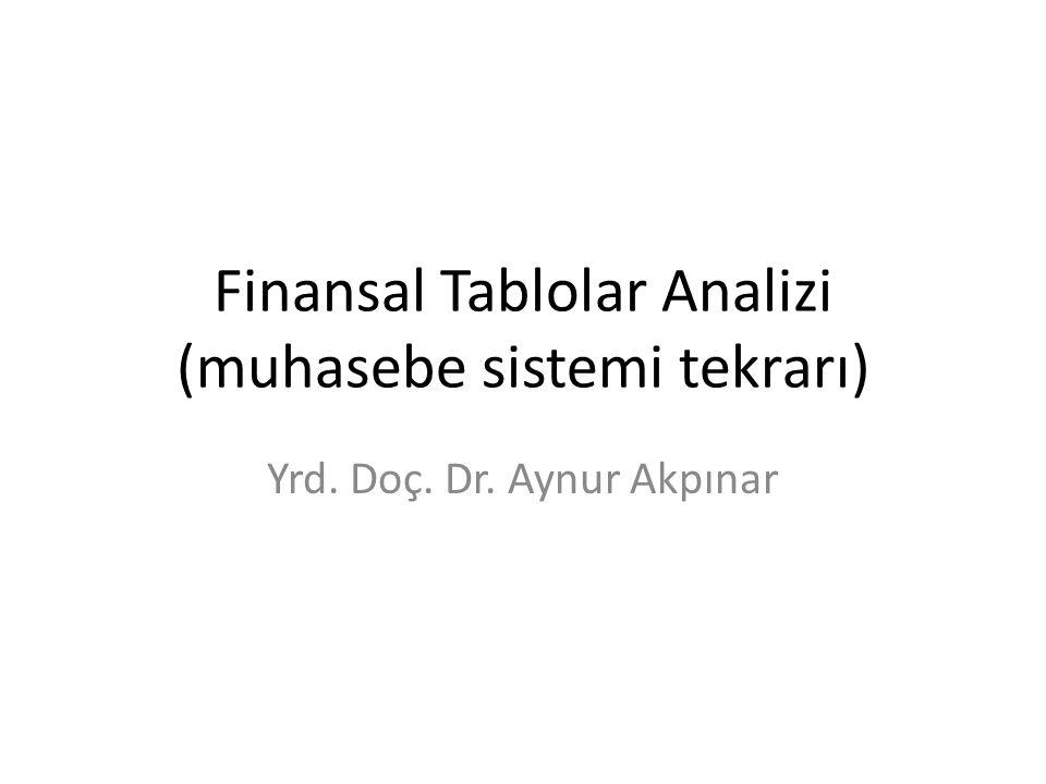 Finansal Tablolar Analizi (muhasebe sistemi tekrarı)