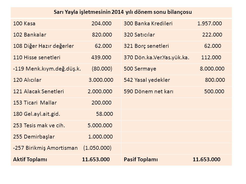 Sarı Yayla işletmesinin 2014 yılı dönem sonu bilançosu
