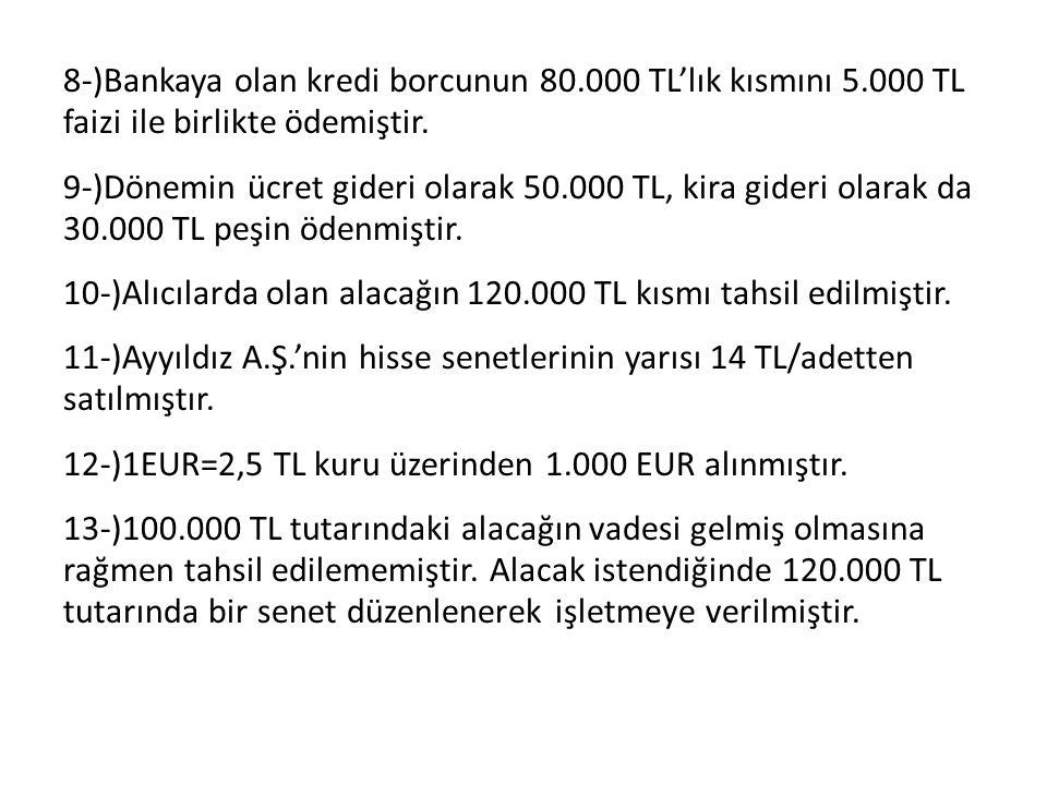 8-)Bankaya olan kredi borcunun 80. 000 TL'lık kısmını 5