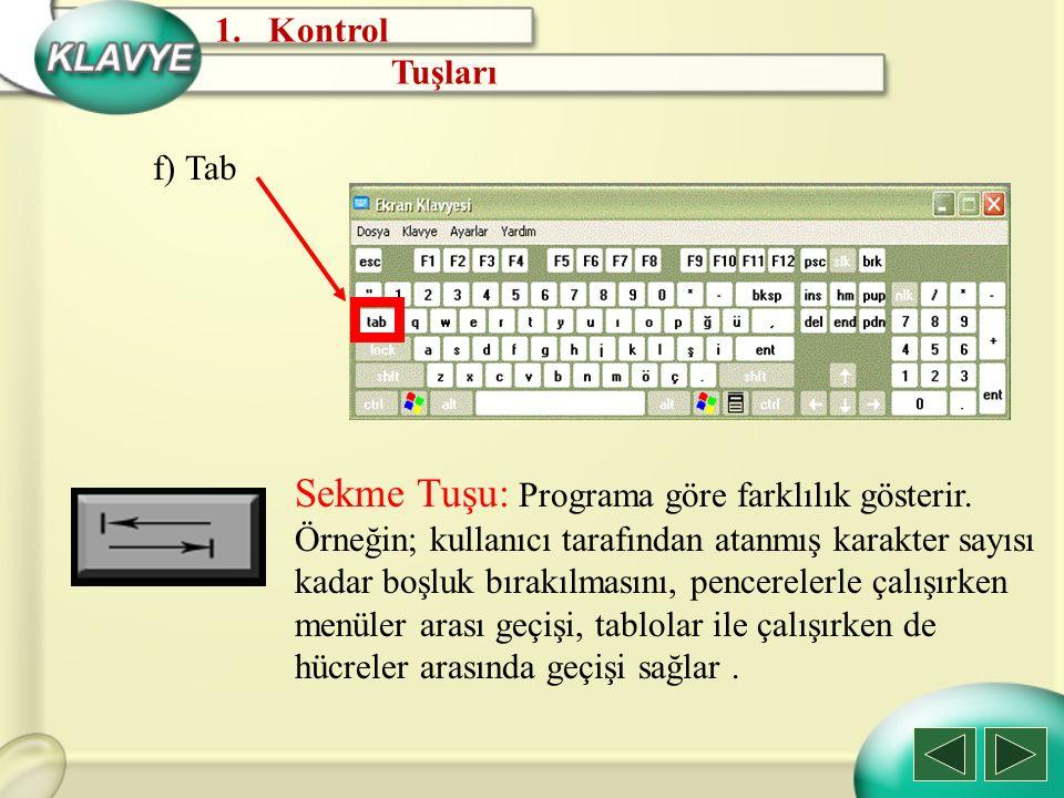 Kontrol Tuşları. f) Tab.