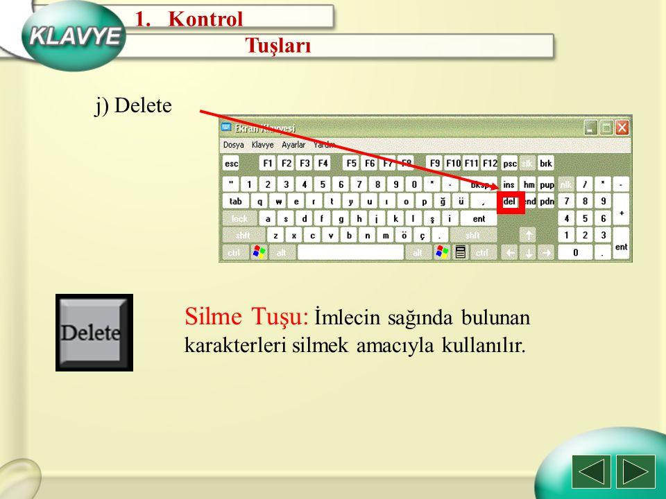 Kontrol Tuşları. j) Delete.