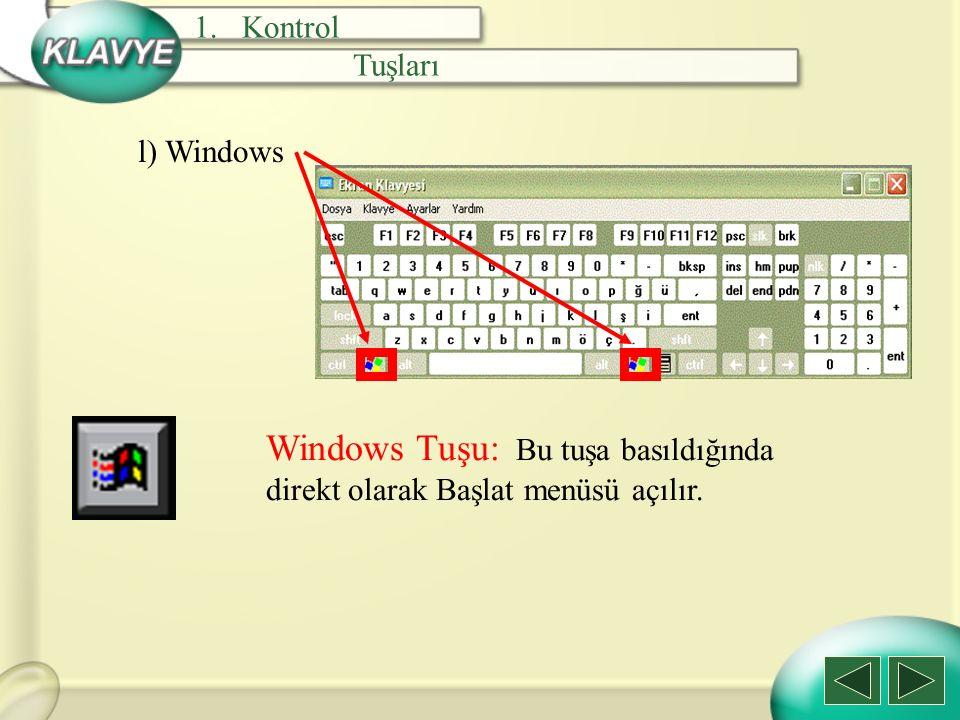 Windows Tuşu: Bu tuşa basıldığında direkt olarak Başlat menüsü açılır.