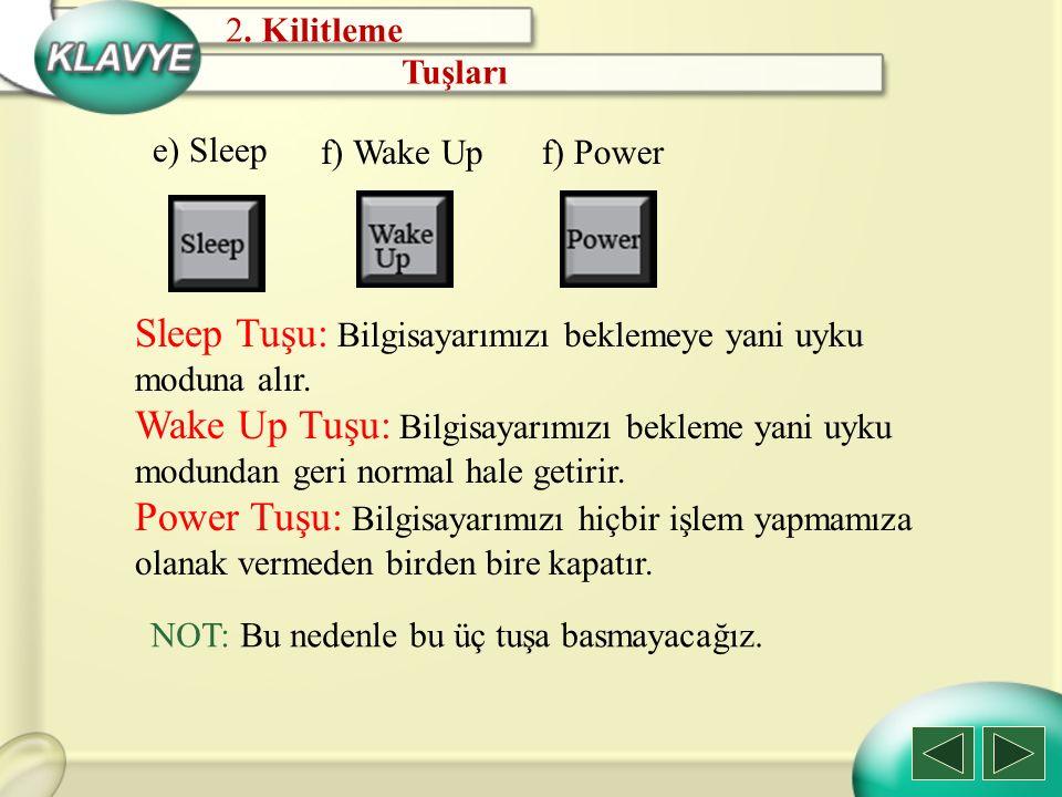 Sleep Tuşu: Bilgisayarımızı beklemeye yani uyku moduna alır.