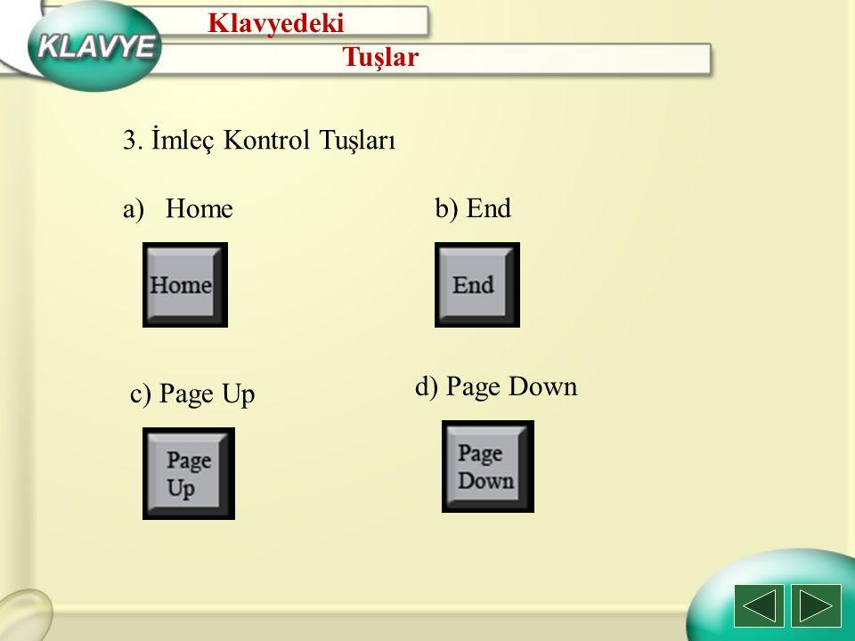 Klavyedeki Tuşlar 3. İmleç Kontrol Tuşları Home b) End d) Page Down c) Page Up