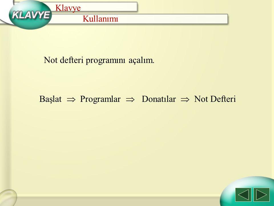 Klavye Kullanımı. Not defteri programını açalım.